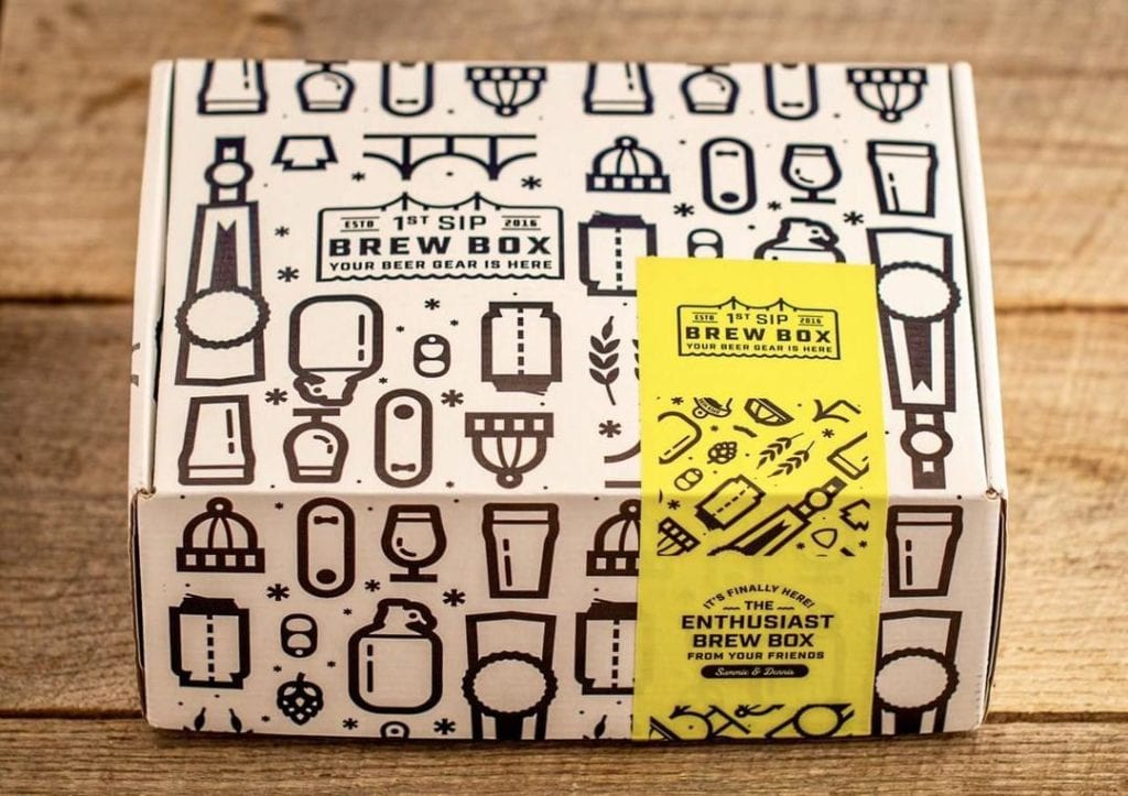 A monthly subscription box from First Sip Brew Box